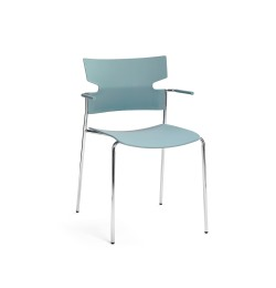 MATERIA_stack armchair 4 legged blue chrome front_w4