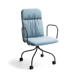 MATERIA Sense conf chair blue dark grey fixed base front VALD